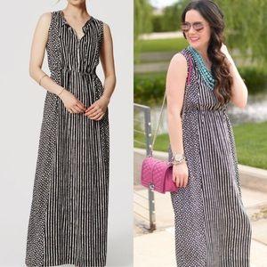 LOFT Black and White Mixed Print Maxi Dress Small